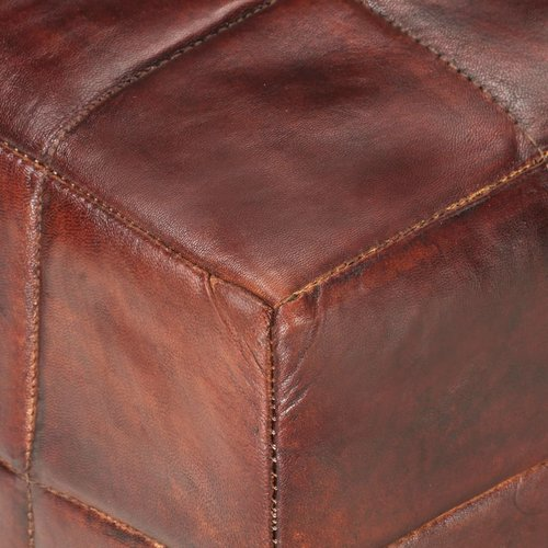 1-Sitzer-Hocker Dunkelbraun und Grau Echtes Ziegenleder