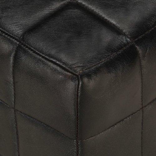 1-Sitzer-Hocker Schwarz Echtes Ziegenleder