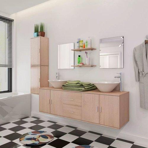 11-tlg. Badmöbel-Set mit Waschbecken und Wasserhahn Beige