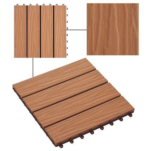 11 Stk. Terrassenfliesen geprägtes WPC 30x30cm 1qm Teak Farbe