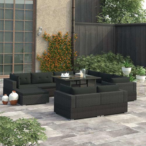 10-tlg. Garten-Lounge-Set mit Auflagen Poly Rattan Schwarz