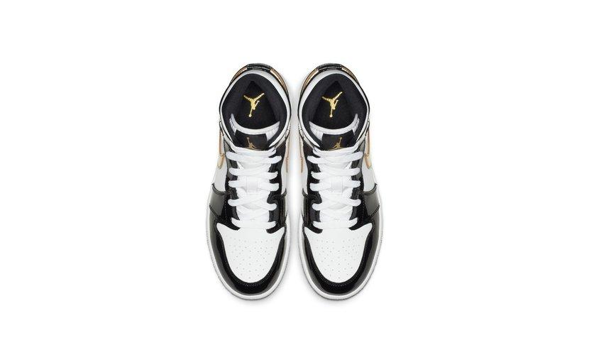Jordan Air Jordan 1 Mid 'Patent Black Gold' (GS)