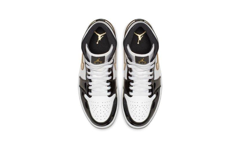 Jordan Air Jordan 1 Mid 'Patent Black Gold'