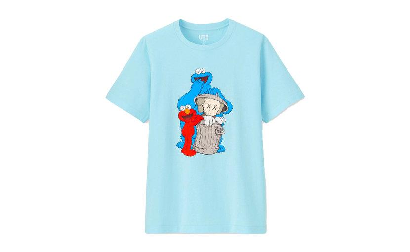 Uniqlo KAWS x Uniqlo x Sesame Street Companion Trash Can T-Shirt 'Light Blue'