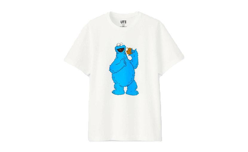 Uniqlo KAWS x Uniqlo x Sesame Street Cookie Monster T-Shirt 'White'