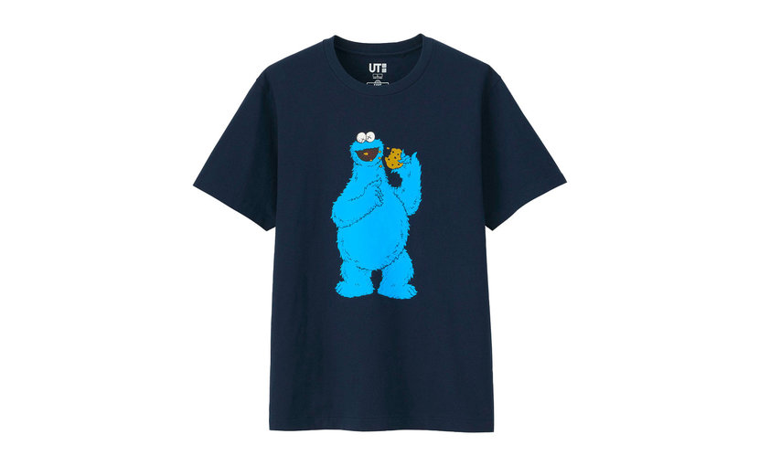 Uniqlo KAWS x Uniqlo x Sesame Street Cookie Monster T-Shirt 'Navy'