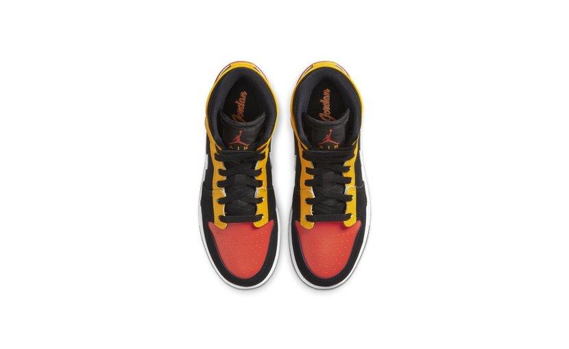 Jordan Air Jordan 1 Mid 'Black Amarillo Team Orange' (GS)