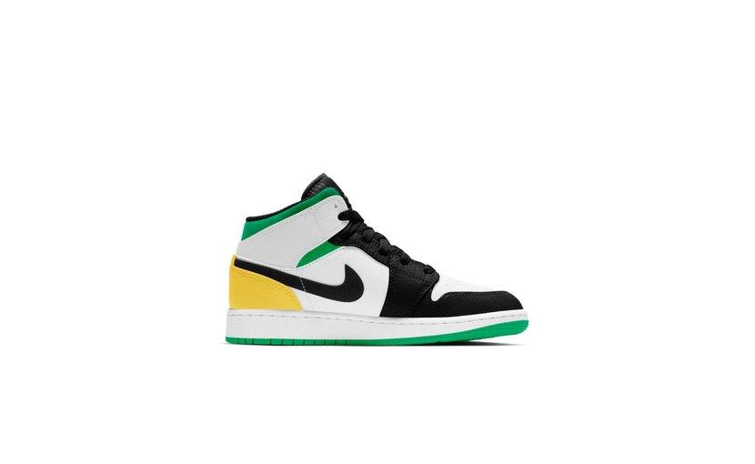 Jordan Air Jordan 1 Mid 'SE White Laser Orange Lucky Green' (GS)
