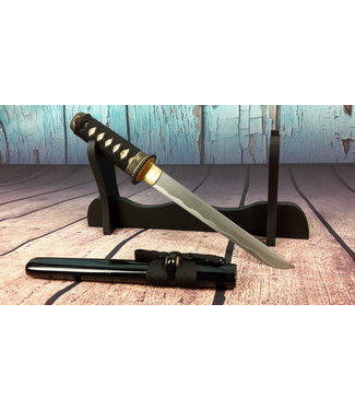 Gebogen samurai tanto mes damast staal