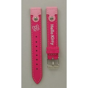 Hello Kitty Horlogeband Hello Kitty fuchsia lak strikje witte tekst