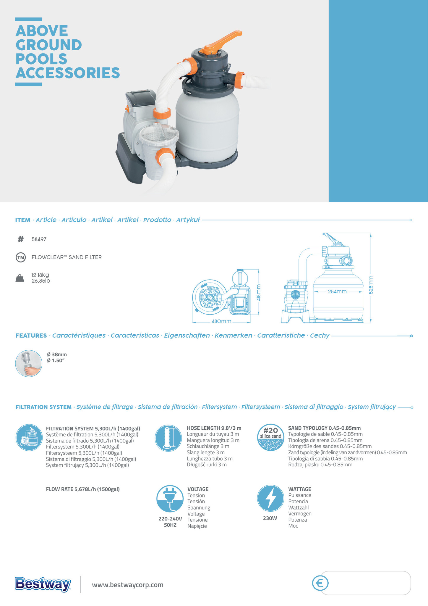 Sand filter with timer Flowclear-2