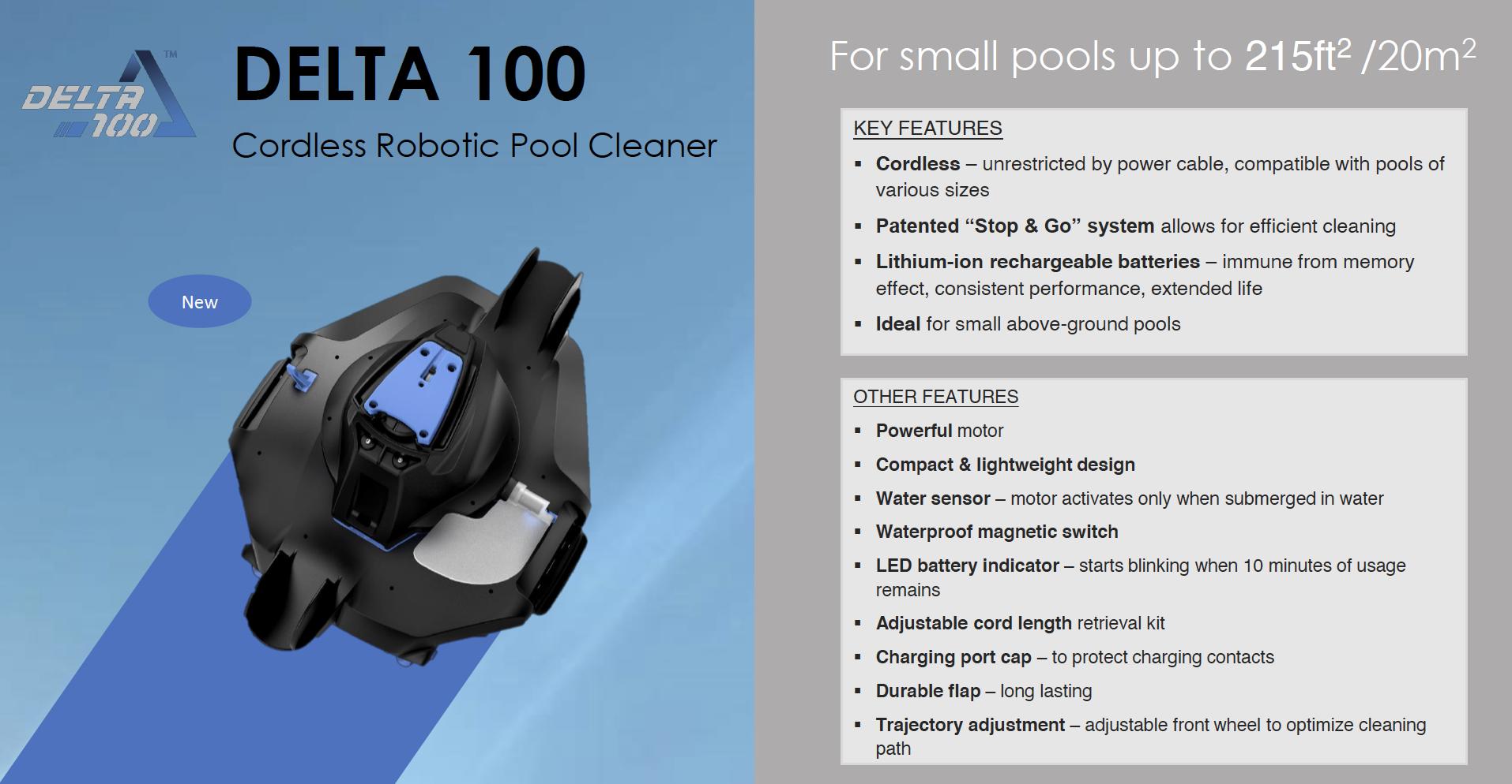 Robot aspirateur automatique sans fil Kokido Delta 100 pour piscine-3