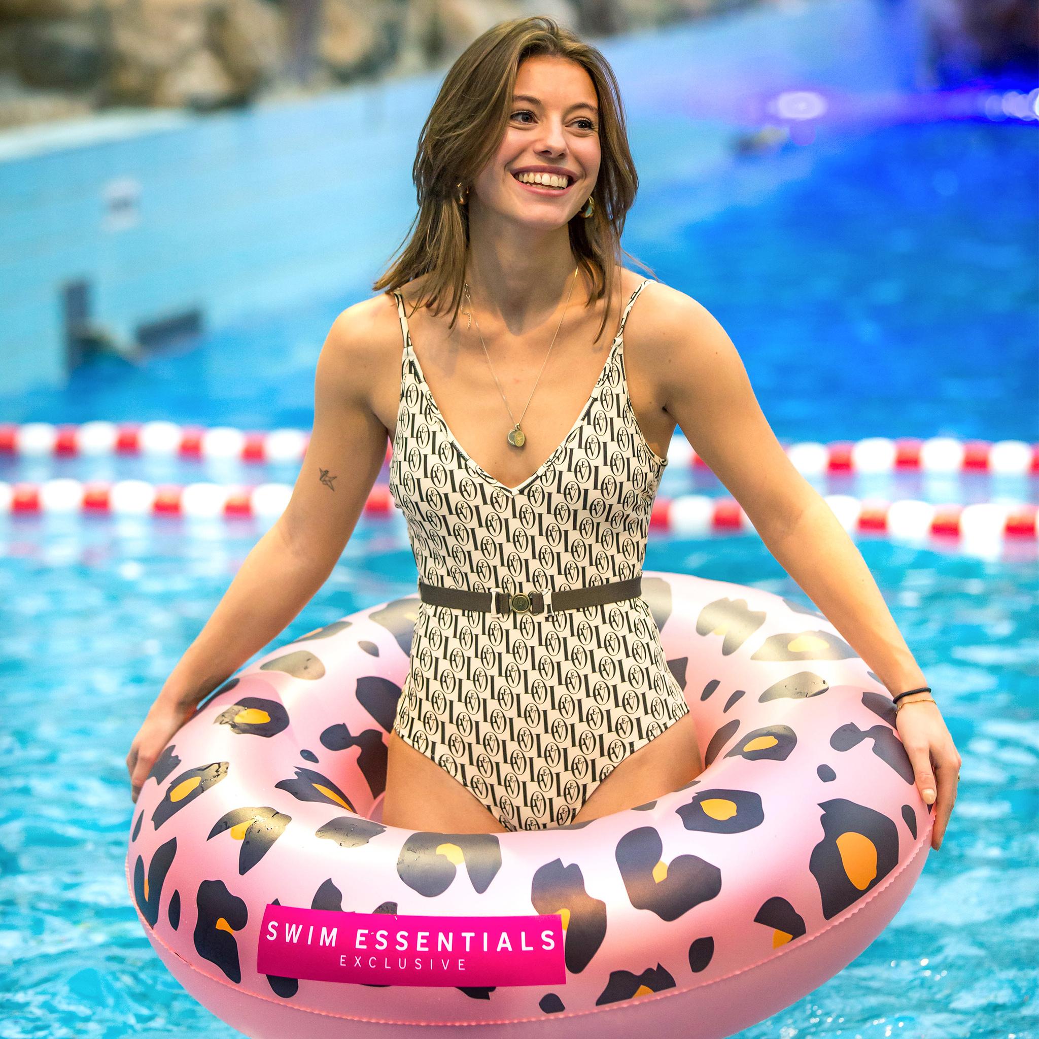 Bague piscine à imprimé panthère Or rose 90cm-2
