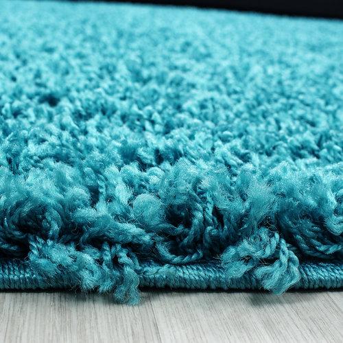 Loca Impression Shaggy Rond Vloerkleed Turquoise Hoogpolig
