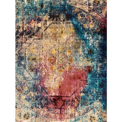 Picasso Picasso Heriz Vintage Rond Vloerkleed Multi / Blauw Laagpolig
