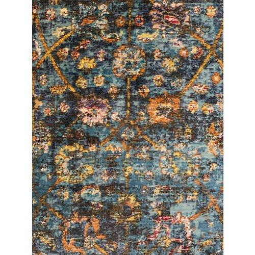 Picasso Picasso Sarough Vintage Rond Vloerkleed Blauw Laagpolig