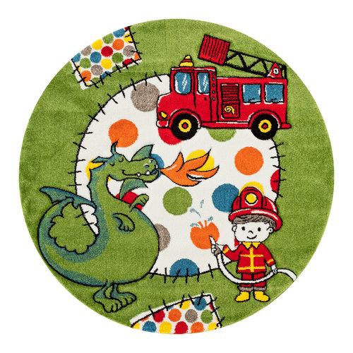 MOMO Momo Brandweer Rond Vloerkleed Kinderkamer Groen Laagpolig