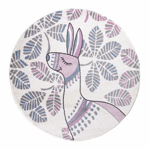 Candy Candy Alpaca Rond Vloerkleed Kinderkamer Wit / Roze Laagpolig
