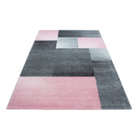Lucca Vloerkleed Grijs / Roze Laagpolig