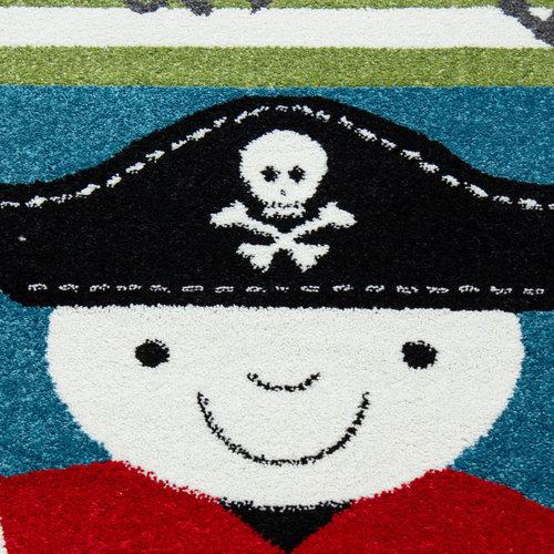 KIDS Kids Piraat Vloerkleed Kinderkamer Blauw / Groen Laagpolig