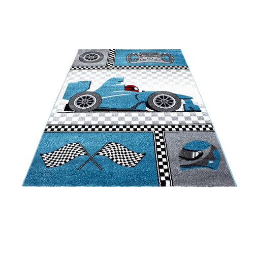KIDS Kids Formule 1 Vloerkleed Kinderkamer Blauw / Grijs Laagpolig