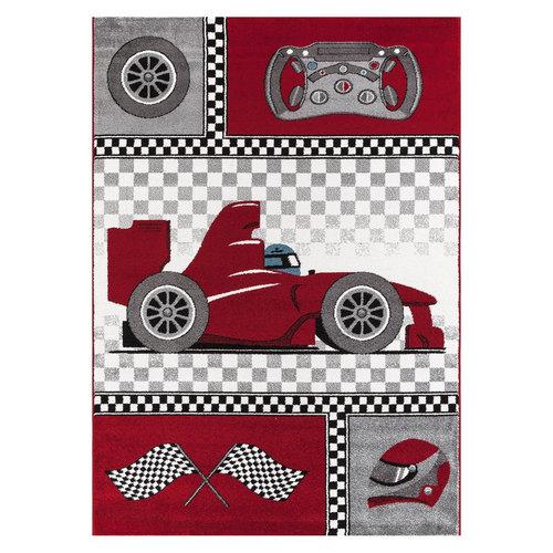 KIDS Kids Formule 1 Vloerkleed Kinderkamer Rood / Grijs Laagpolig