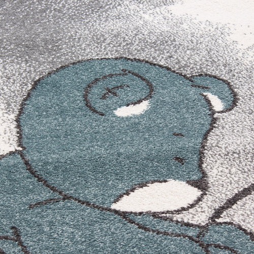 KIDS Kids Dreams Rond Vloerkleed Kinderkamer Blauw / Grijs Laagpolig