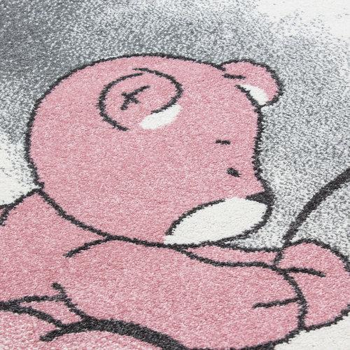 KIDS Kids Poesje Rond Vloerkleed Kinderkamer Grijs / Roze Laagpolig
