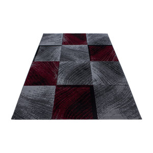 PLUS Plus Vloerkleed Grijs / Rood Laagpolig