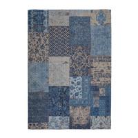 Patchwork Vloerkleed Blauw / Beige Laagpolig