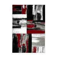 Swing Vloerkleed Modern Rood / Wit / Zwart Laagpolig