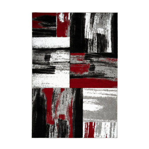 Dominica Swing Vloerkleed Modern Rood / Wit / Zwart Laagpolig