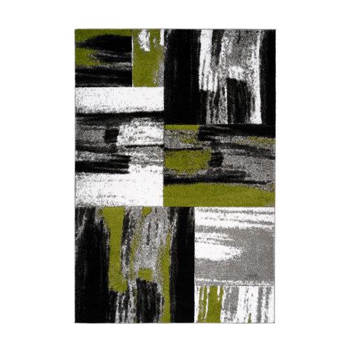 Dominica Swing Vloerkleed Modern Groen / Wit / Zwart Laagpolig