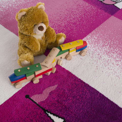 Bambino Bambino Sprookje Kinderkamer Vloerkleed Paars / Roze Laagpolig