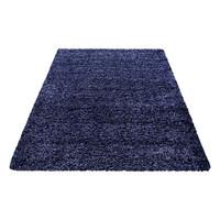 Himalaya Basic Shaggy vloerkleed Donker Blauw Hoogpolig