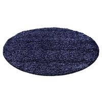 Himalaya Basic Rond Shaggy vloerkleed Donker Blauw Hoogpolig