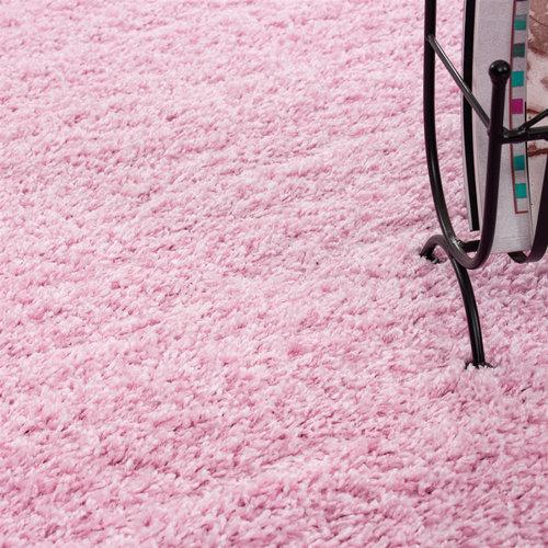 Himalaya Himalaya Basic Rond Shaggy vloerkleed Roze Hoogpolig