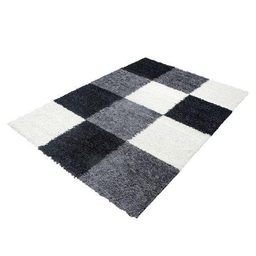 Himalaya Himalaya Basic Shaggy Geblokt vloerkleed Zwart / Wit Hoogpolig
