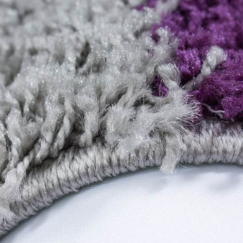 Himalaya Himalaya Basic Shaggy Geblokt vloerkleed Paars / Grijs Hoogpolig