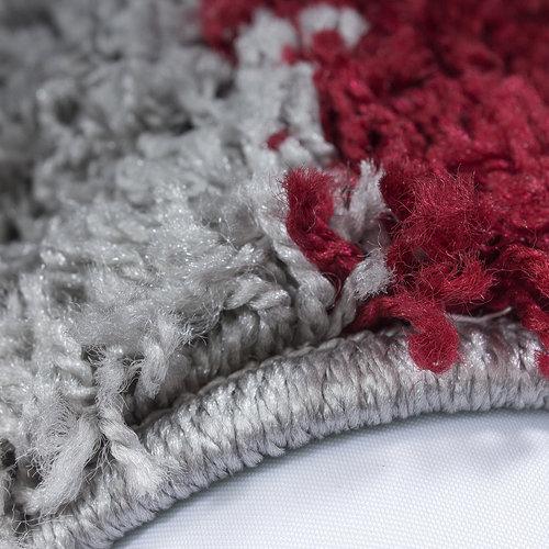 Himalaya Himalaya Basic Shaggy Geblokt vloerkleed Rood / Grijs Hoogpolig