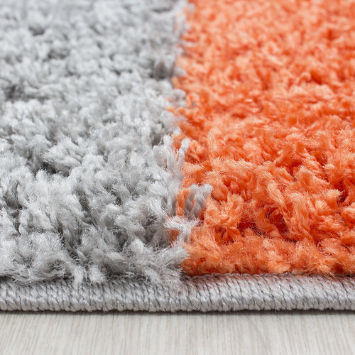 Himalaya Himalaya Basic Shaggy Geblokt vloerkleed Oranje / Grijs Hoogpolig