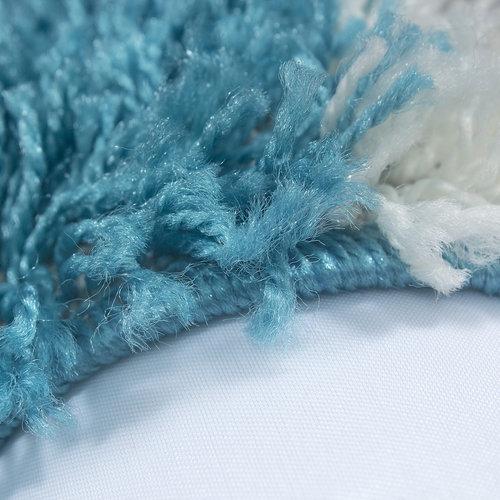 Himalaya Himalaya Basic Shaggy Geblokt vloerkleed Turquoise / Wit Hoogpolig