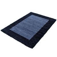 Himalaya Basic Shaggy Kader vloerkleed Blauw Hoogpolig