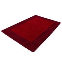 Himalaya Basic Shaggy Kader vloerkleed Rood Hoogpolig