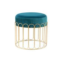 Design Hocker Fluweel Cleopatra Blauw / Goud - 40x40x40CM