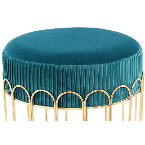 Cleopatra Design Hocker Fluweel Cleopatra Blauw / Goud - 40x40x40CM