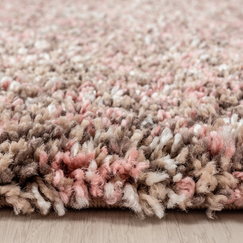 ENJOY SHAGGY Himalaya Rainbow Soft Shaggy Hoogpolig Vloerkleed Beige / Roze