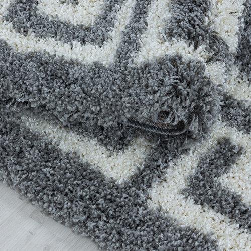 HERA SHAGGY Himalaya Pera Soft Shaggy Rond Hoogpolig Vloerkleed Grijs / Wit