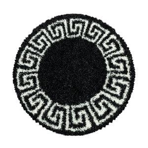 HERA SHAGGY Himalaya Pera Soft Shaggy Rond Hoogpolig Vloerkleed Zwart / Wit
