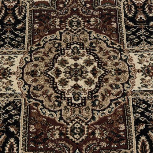 KASHMIR Impression Mashad Oosters Klassiek Laagpolig Vloerkleed Zwart / Beige